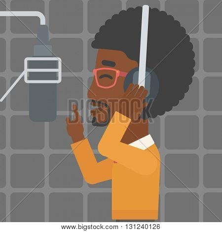 An african-american man in headphones making a record of his voice in studio vector flat design illustration. Square layout.