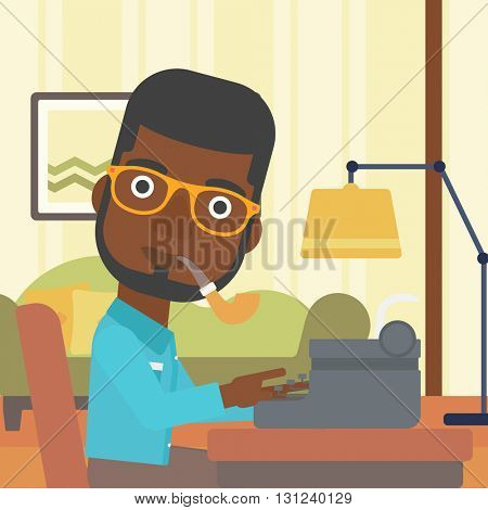 An african-american reporter writing an article on typewriter and smoking pipe on the background of living room vector flat design illustration. Square layout.