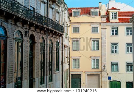 Colorful houses in Lisbon with tiled roofs. Portugal.