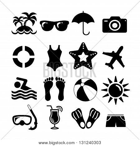Beach and vacation set icon collection - vector silhouette illustration on white background.