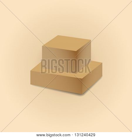 Realistic closed cardboard boxes with shadow isolated on a light background vector illustration.