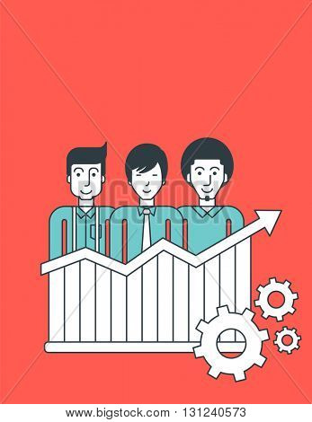 Three businessmen standing behind the bar chart going upward. Perspective business concept. Vector line design illustration. Vertical layout.