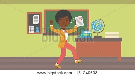 An african-american pupil holding a sheet with the highest mark on the background of classroom vector flat design illustration. Horizontal layout.