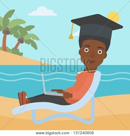 An african-american woman in graduation cap lying in chaise long with laptop on the beach vector flat design illustration. Square layout.