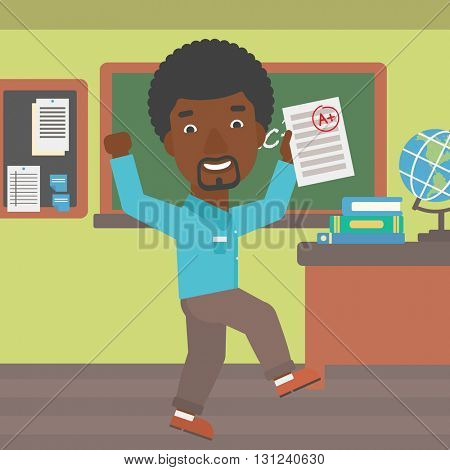 An african-american man holding a sheet with the highest mark on the background of classroom vector flat design illustration. Square layout.