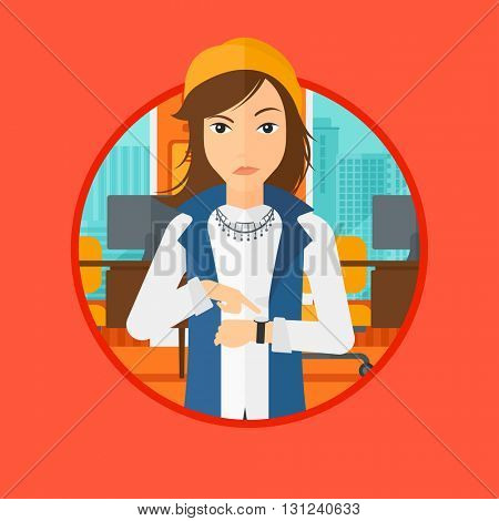 An angry woman standing in the office and pointing at wrist watch. Vector flat design illustration in the circle isolated on background.
