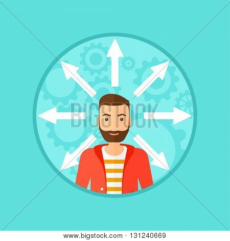 A hipster man with many arrows around his head. Vector flat design illustration in the circle isolated on background.