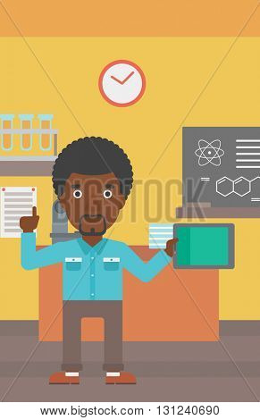 An african-american man standing with a tablet computer and pointing his forefinger up on the background of chemistry class vector flat design illustration. Vertical layout.