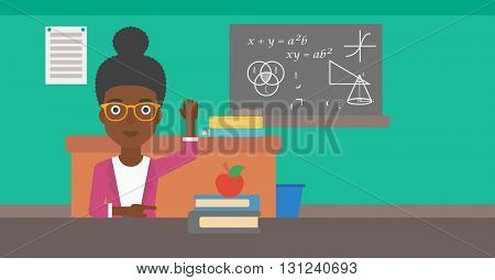 An african-american woman raising her hand while sitting at the table on the background of classroom vector flat design illustration. Horizontal layout.