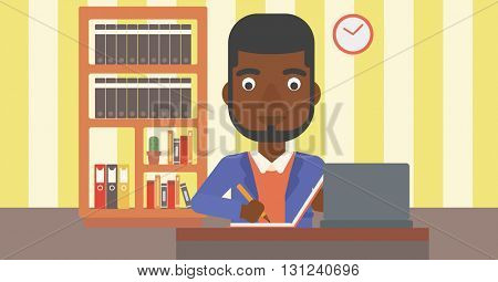 An african-american man sitting in front of laptop and taking some notes on the background of room vector flat design illustration. Horizontal layout.