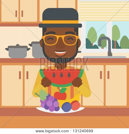 An african-american man eating watermelon while standing in the kitchen in front of table full of organic healthy food vector flat design illustration. Square layout.