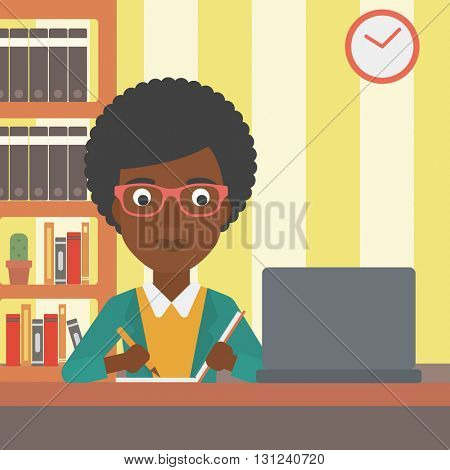 An african-american woman sitting in front of laptop and taking some notes on the background of room vector flat design illustration. Square layout.