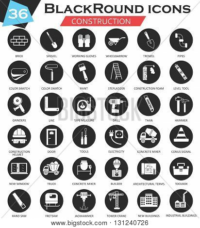 Vector Construction and building tools circle white black icon set. Ultra modern icon design for web