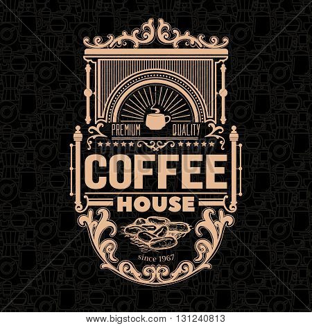 Coffee shop related vector design of a badge for design project with dark seamless background