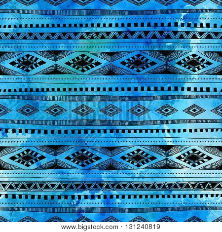 Seamless ethnic pattern. Hand drawn ornament. Blue and black vector illustration. Texture.