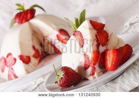 Piece Of Cheese Cake With Fresh Strawberries Macro On A Plate. Horizontal