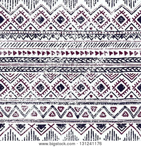 Seamless ethnic background. Geometric lines on a white background. Texture. Blue elements. Doodle.