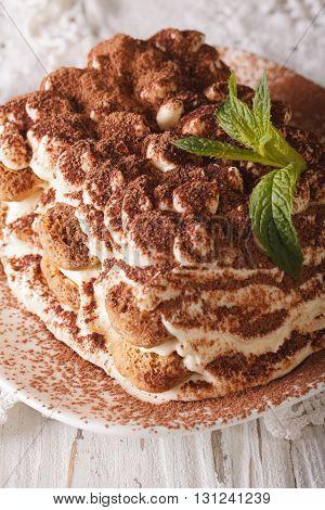 Italian Tiramisu Cake On A Plate Macro. Vertical