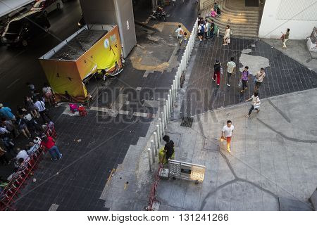 BANGKOK THAILAND - APR 24 : bird view of walking street in siam square on april 24 2016 thailand. siam square is famous shopping place of Bangkok