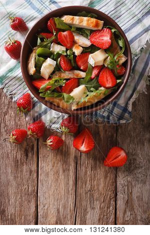 Fresh Salad With Strawberry, Chicken, Brie And Arugula. Vertical Top View