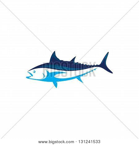 Beautiful blue tuna fish vector illustration isolated on white background.