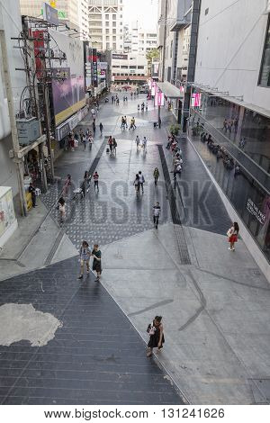 BANGKOK THAILAND - APR 24 : scene of people on walking street at side of Siam square one in Siam square on april 24 2016 thailand. siam square is famous shopping place of Bangkok