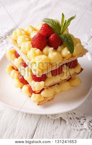 French Strawberry Millefeuille With Custard Closeup On A Plate. Vertical