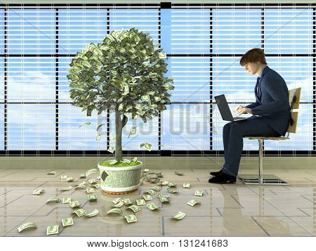 Man with laptop near the money tree..3D rendering