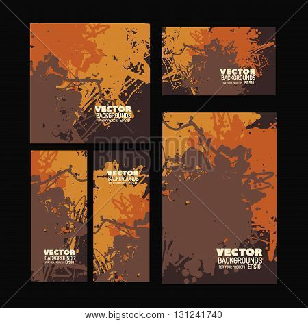 Set of modern bright brown vector design for the background print or web projects with brown, orange and yellow color scheme
