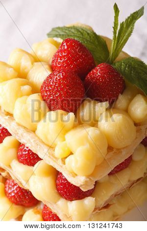 Tasty Strawberry Millefeuille With Custard Macro. Vertical