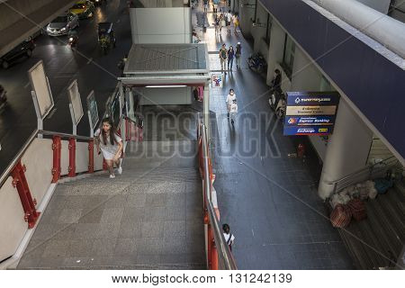 BANGKOK THAILAND - APR 24 : scene of walking street at Bangkok bank in Siam square on april 24 2016 thailand. siam square is famous shopping place of Bangkok