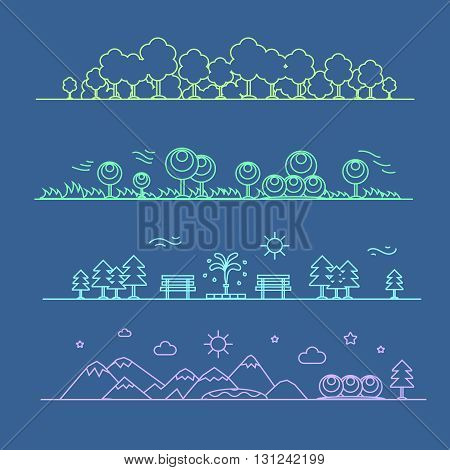 Isolated nature landscape with mountains, hills, park and trees on background. line style vector illustration.