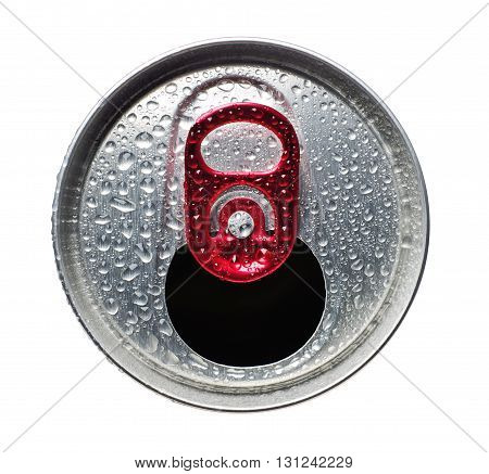 Opened aluminum can for soft drinks or beer with water drops isolated on white