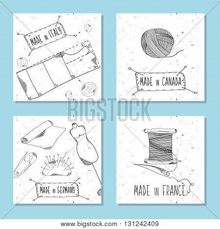 Printable cards for sites in the retro style. Sewing device equipment for manufacturing clothing and textiles. Made in Italy Canada France Germany. Fashion Europe America. Vector illustration