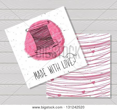 Printable card in the style of Hand-drawn. Sewing devices devices for manufacturing tailoring and textiles. Made with love. A skein of thread with a needle. Fashion. Vector illustration