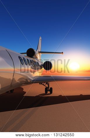 Passenger aircraft on the ground.3D rendering