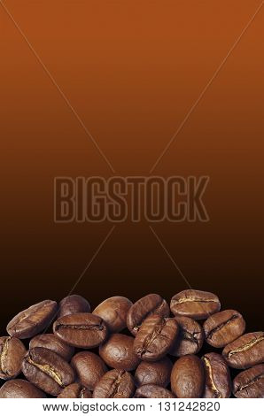 Coffee beans on against the backdrop of a brown gradient