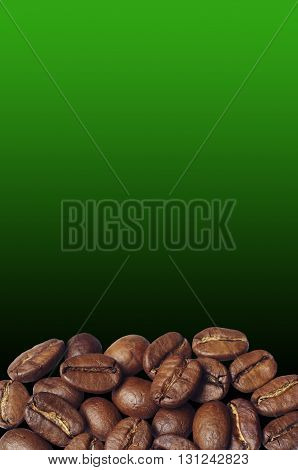 Coffee beans on against the backdrop of a green gradient