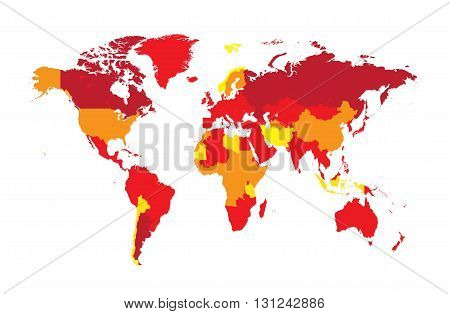 World map flat tree red colors background