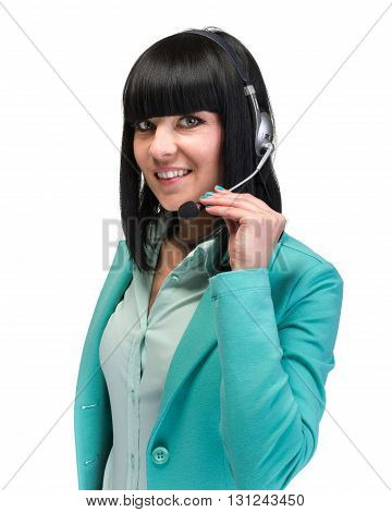 Pretty young call center worker wearing a headset  isolated on white background