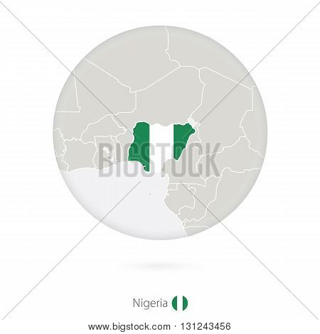 Map Of Nigeria And National Flag In A Circle.