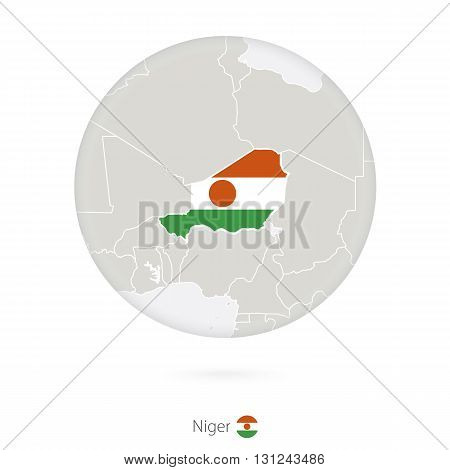 Map Of Niger And National Flag In A Circle.