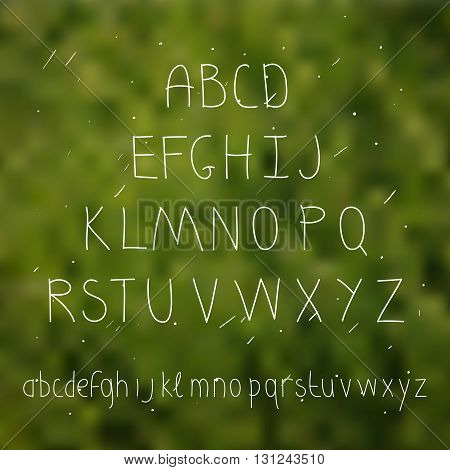 Cute hand drawn letter in the blurred background. Doodle type. Sans serif. Display faces. Uppercase and lowercase letters. Summer.
