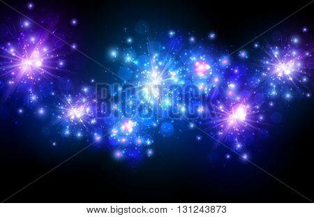 Festive blue firework background. Vector illustration.