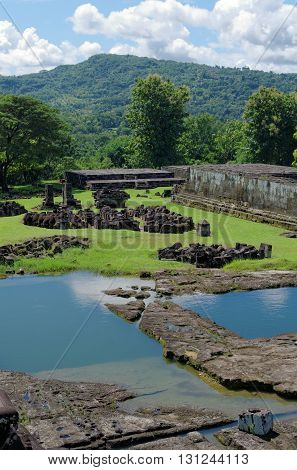 the pond inside ratu boko palace complex