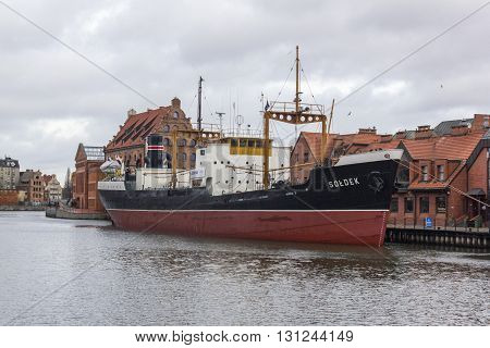 GDANSK, POLAND - DECEMBER 26: Antique merchant ship Soldek moored on the river Motlawa on December 26, 2011 in Gdansk.