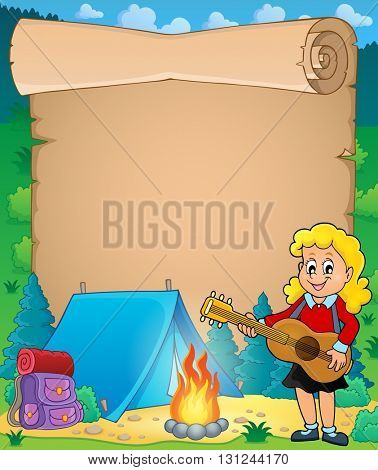 Parchment with girl guitarist in camp 1 - eps10 vector illustration.