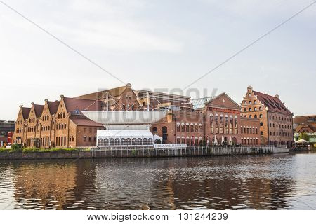 GDANSK, POLAND - JULY 28: Polish Baltic Philharmonic Hall located on the island Olowianka on July 28, 2012 in Gdansk.