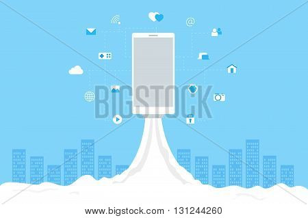 Phone launch like a space rocket with mobile icons. Abstract blue cityscape on background. Wi-fi 3G 4G advertising desing.