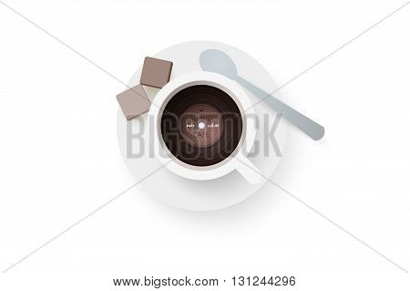 DJ cafe. Abstract cup of coffee with vinyl record. Vector illustration.